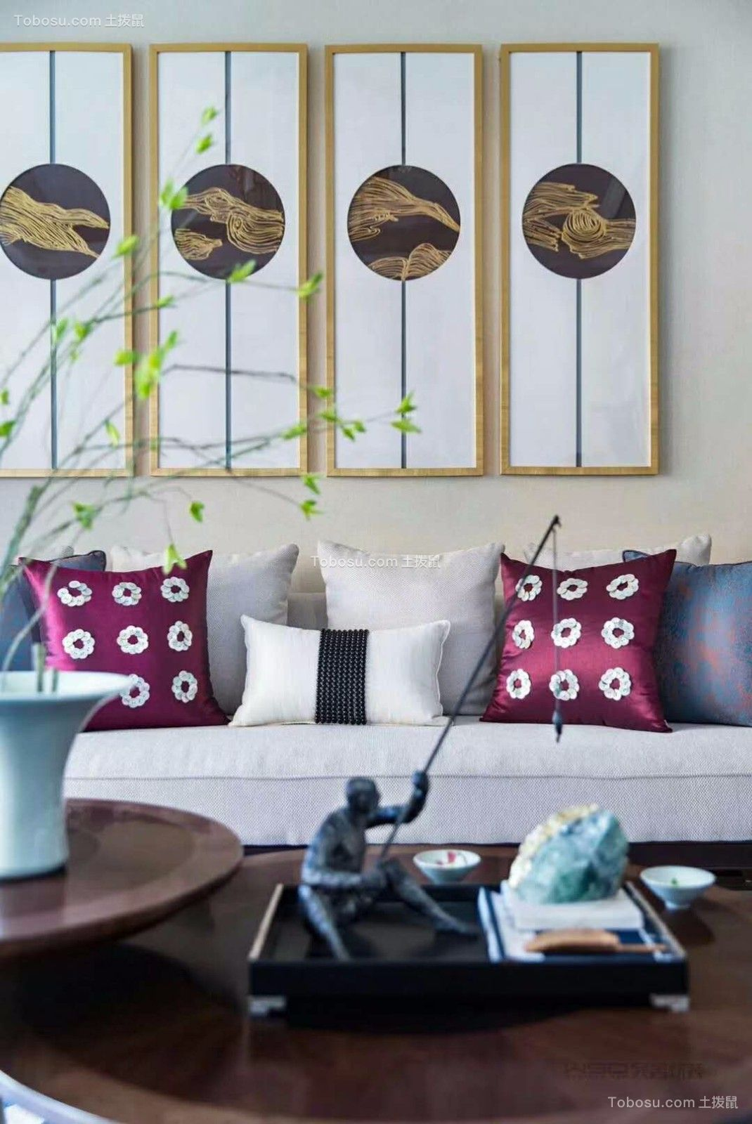 客厅彩色细节新中式风格装潢效果图