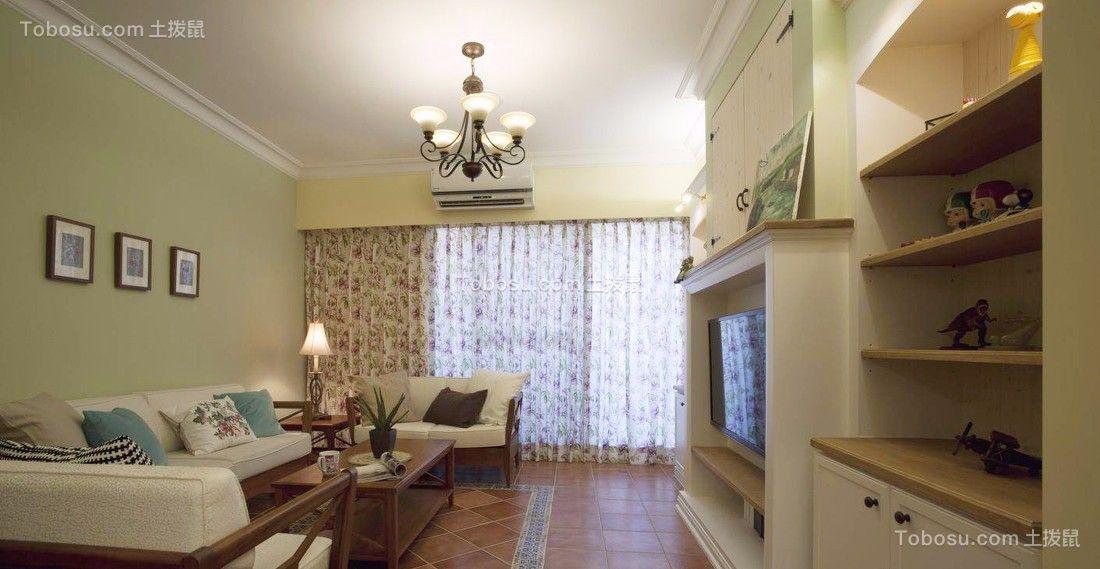 客厅绿色照片墙乡村风格装潢效果图