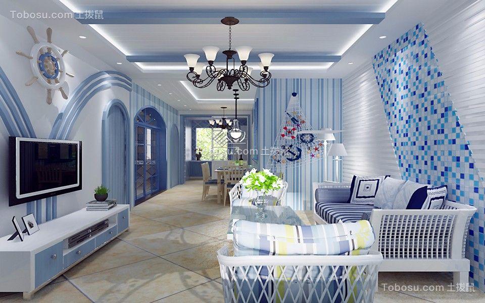 煌盛中央公园104平地中海风格三室装修风格效果图