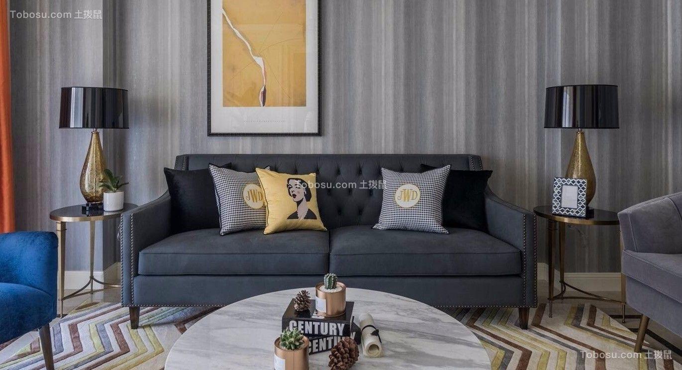 绿地悦澜湾115平摩登美式风格三室装修效果图