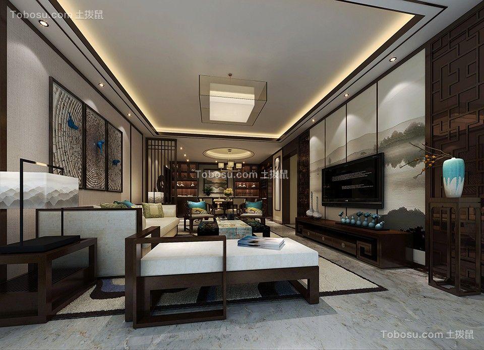 星海名城115平米新中式风格三居室装修效果图