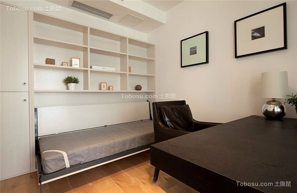 书房白色背景墙简约风格装修设计图片