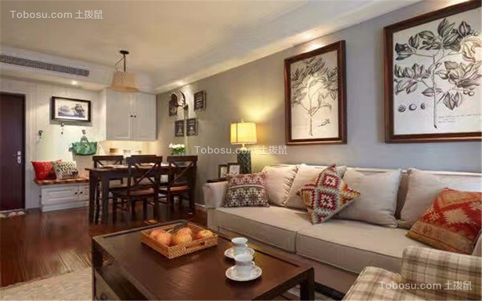 客厅米色沙发简单风格装潢图片