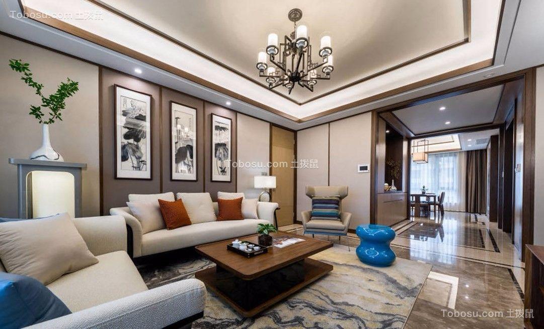 东海花园173平新中式风格四室两厅一厨两卫装修效果图