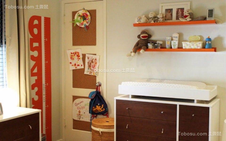 儿童房咖啡色书桌美式风格装潢图片