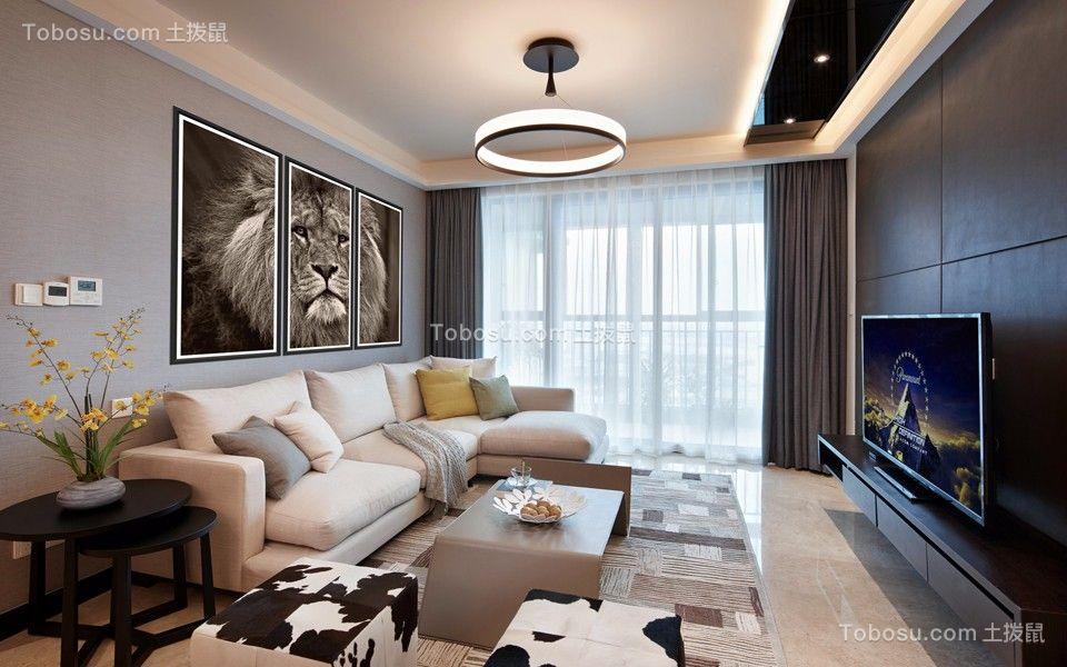 弘建一品128平现代风格三居室装修效果图