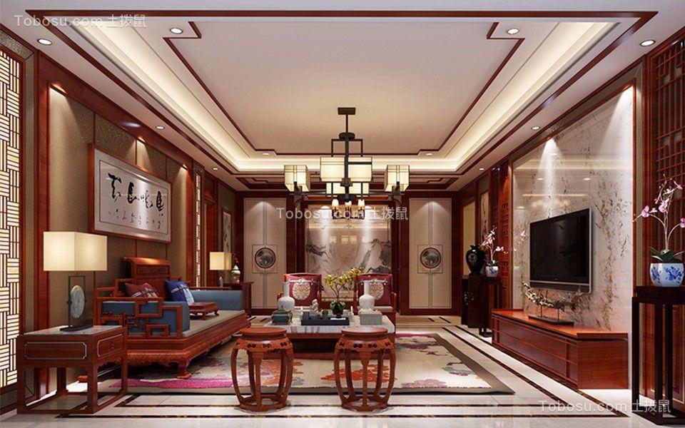 恒大华府简约中式167平四居室装修效果图