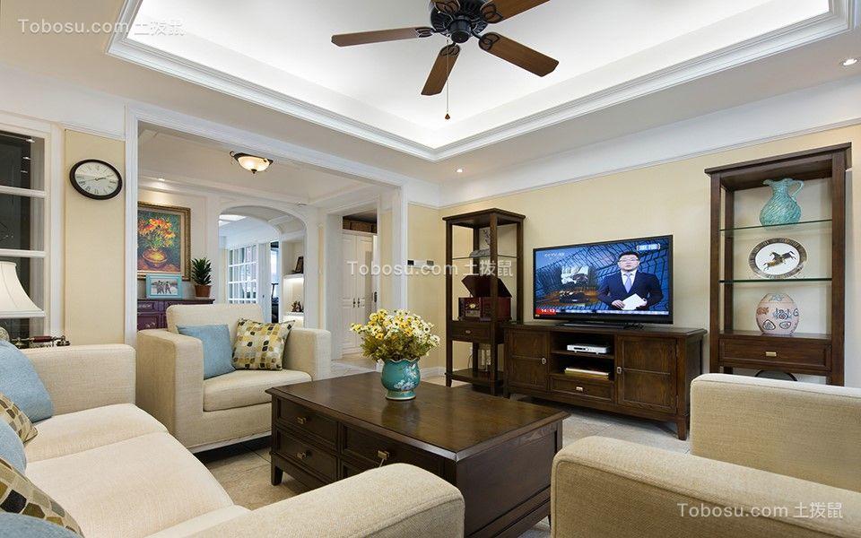 90平美式风格三居室装修效果图