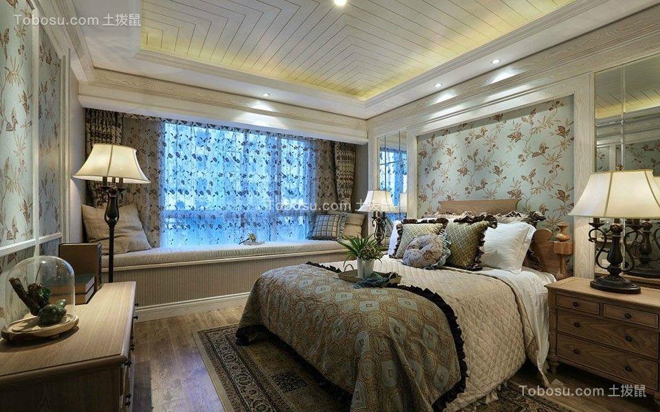 125平三居室田园风格装修效果图
