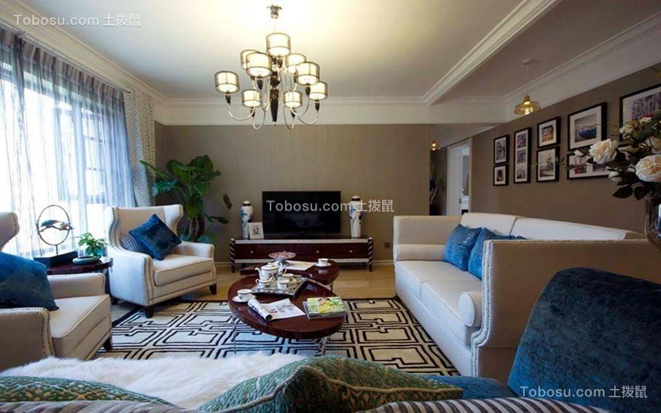 客厅米色沙发简单风格装潢设计图片