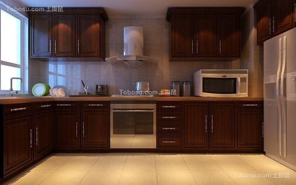 厨房咖啡色橱柜简单风格装潢效果图