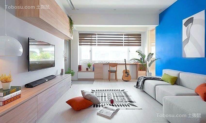 客厅蓝色背景墙现代简约风格装饰图片