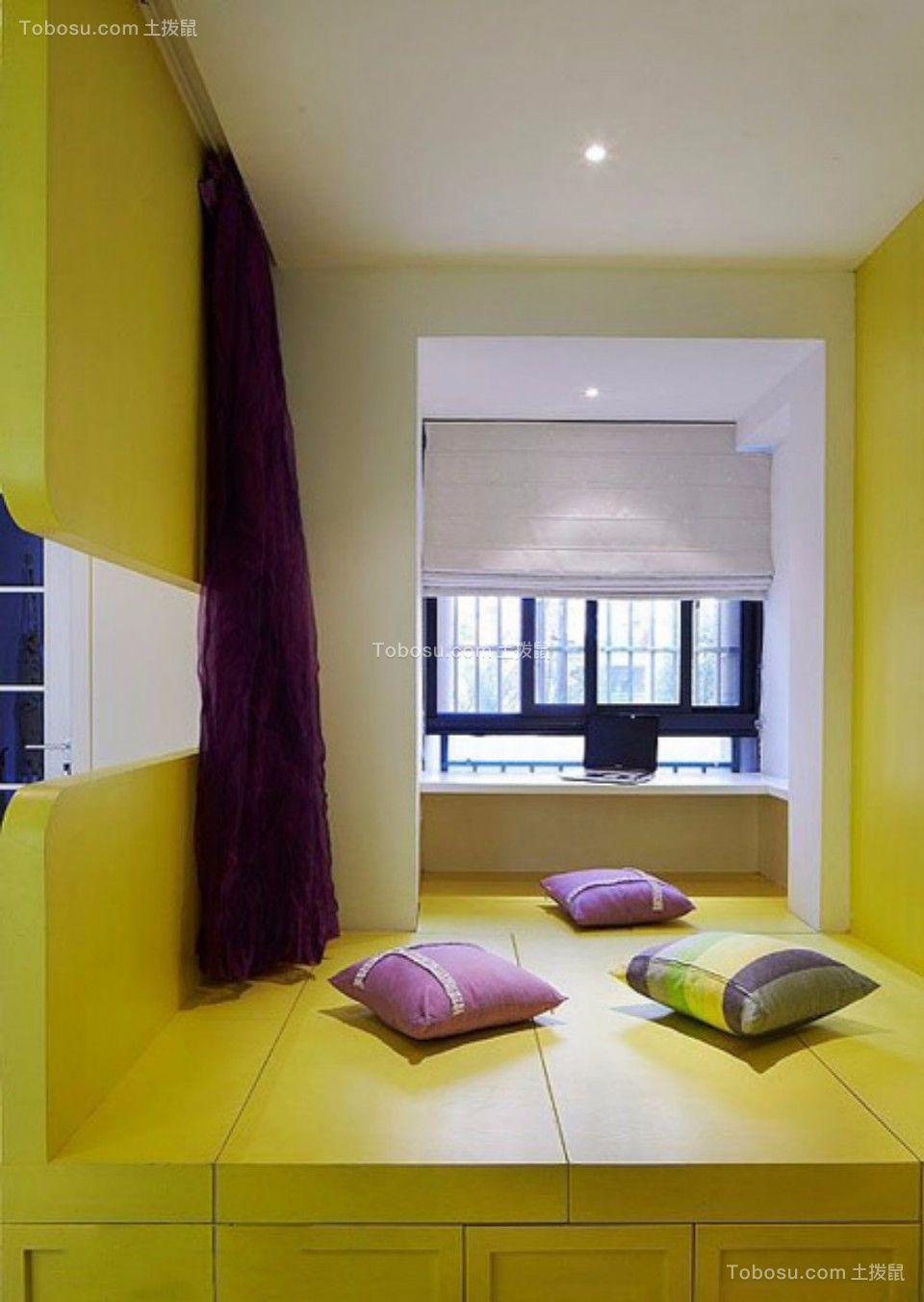 儿童房黄色榻榻米混搭风格装潢图片