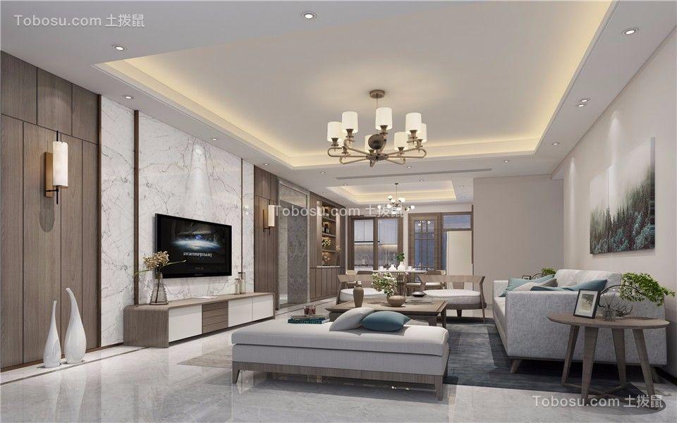 现代简约风格120平米三居室装修效果图