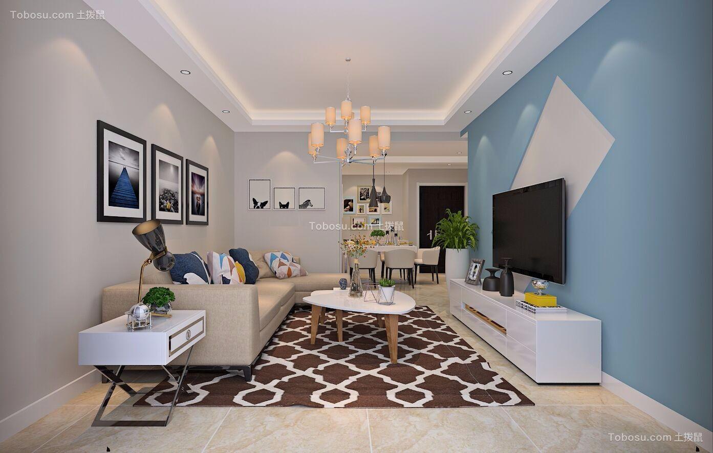 現代簡約風格90平米三室兩廳新房裝修效果圖