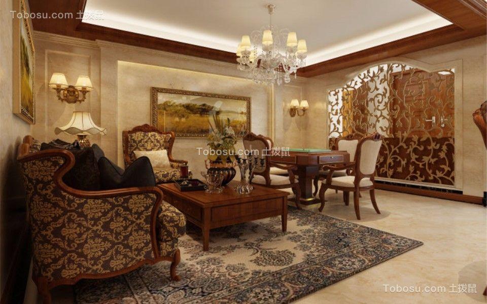 130平米中式风格三室两厅装修效果图