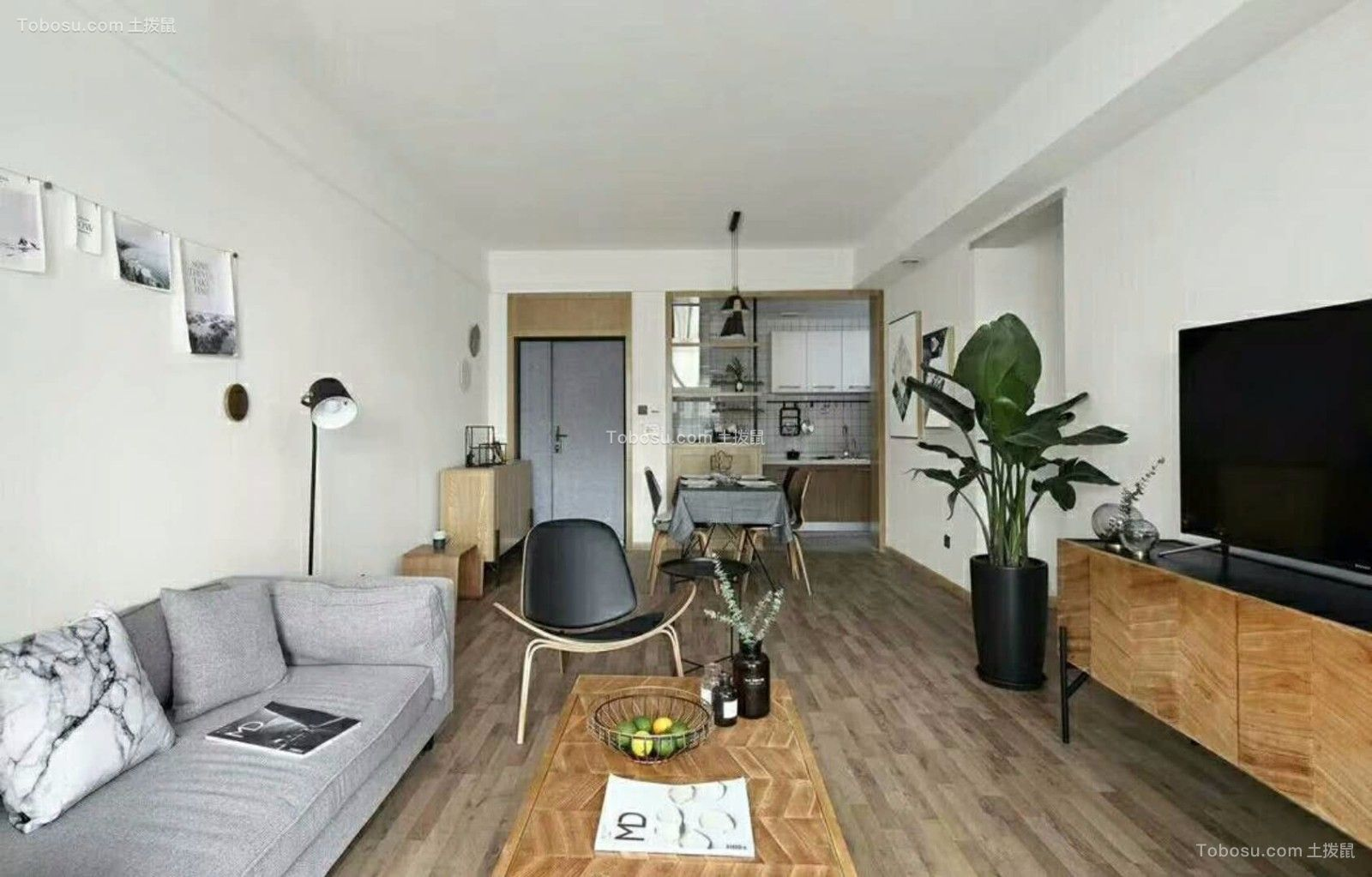 一室一厅现代风格90平米小户型装修效果图