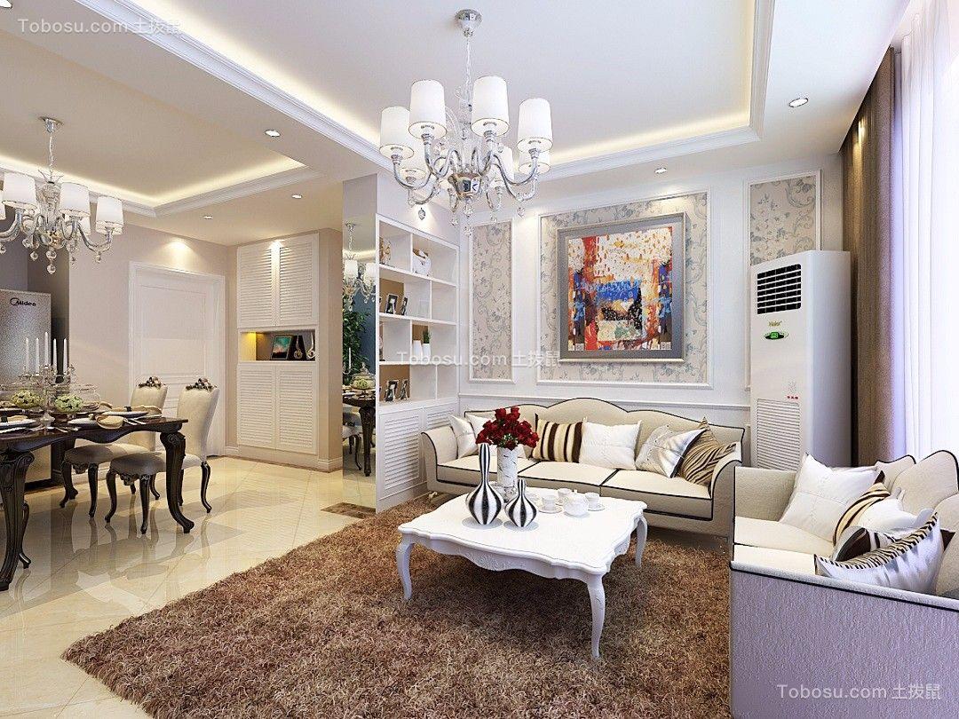国信紫云台简欧风格110平米3室2厅2卫装修效果图