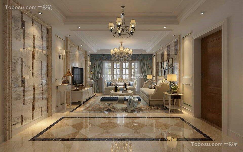 客厅米色细节欧式风格效果图