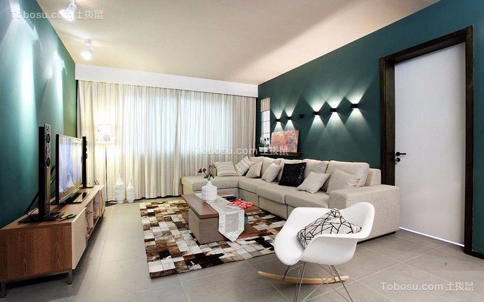泊林春天120平米现代风格三居装修效果图