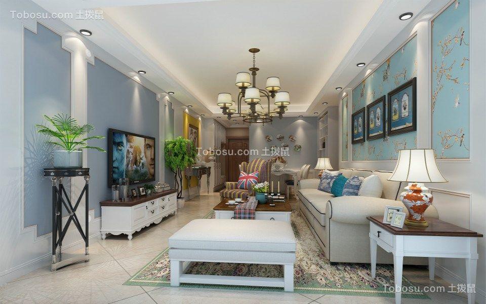 南昌万达旅游城100平米三室简美风格装修效果图