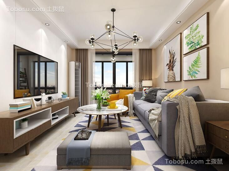 两室一厅新中式风格100平米装修效果图图片