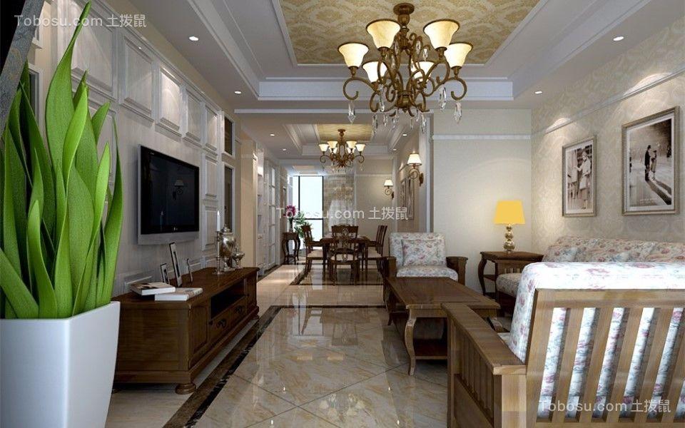 万豪欧式新古典风格三室两厅装修效果图