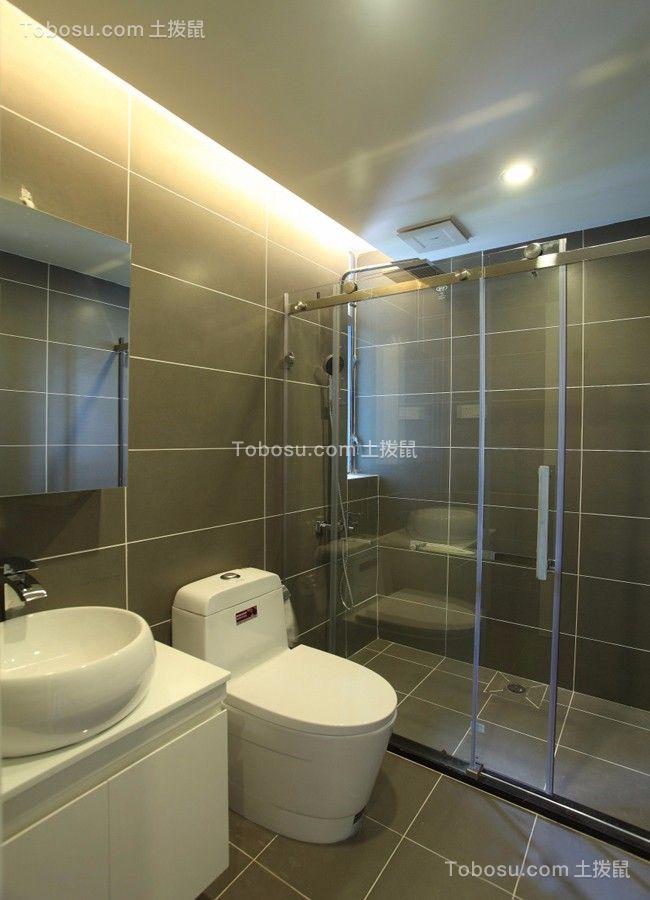 卫生间白色推拉门现代风格装修效果图