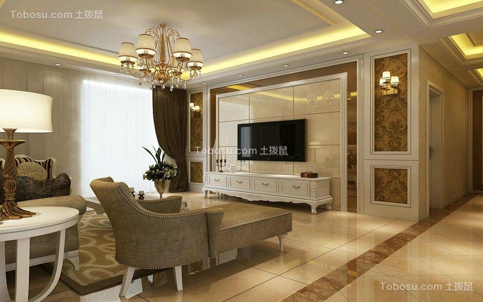 绿地城128平欧式风格三居室装修效果图