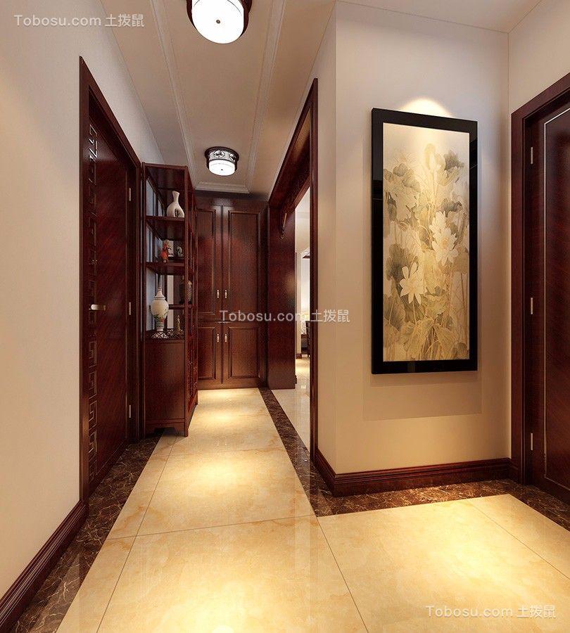 玄关米色门厅新中式风格装潢效果图
