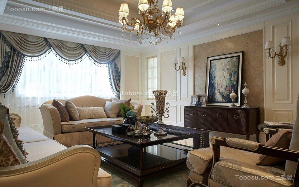 绿地香奈143平美式风格三居室装修效果图