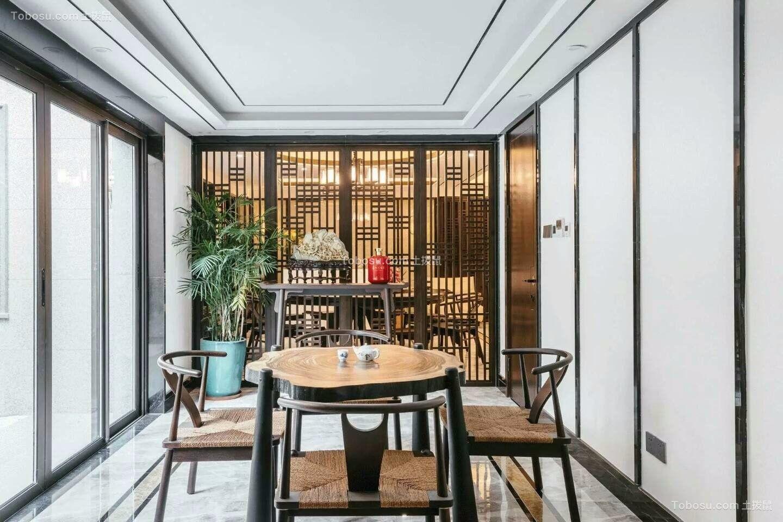餐厅黄色细节新中式风格装修效果图