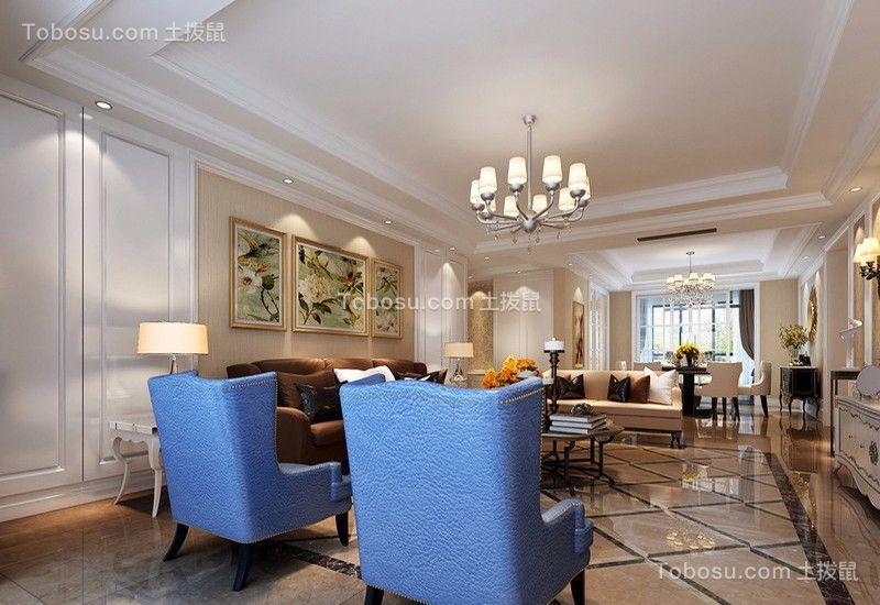 客厅蓝色细节欧式风格装潢效果图