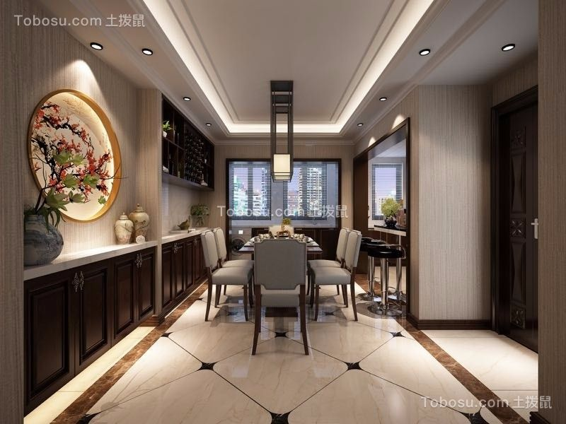 2019新中式餐厅效果图 2019新中式地砖装修效果图大全