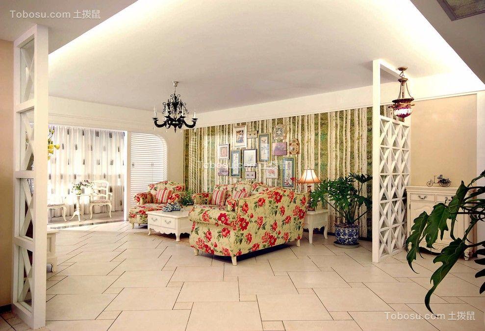 鹭湖宫141平田园风格三居室装修效果图