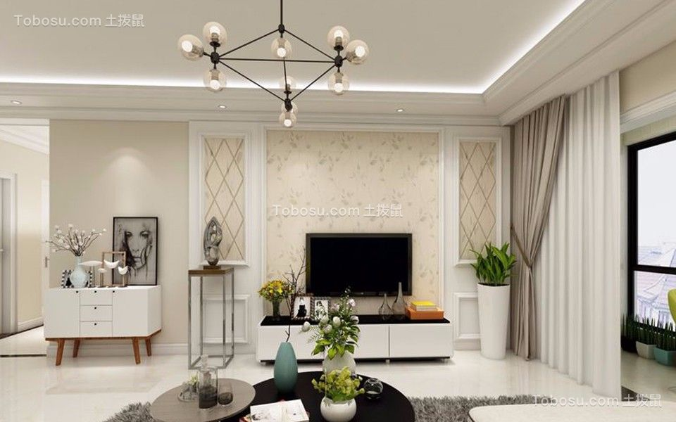 来福花园98平米现代风格二居室装修效果图