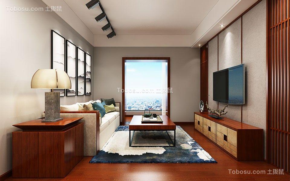 银杏金川76平米三室新中式风格装修效果图