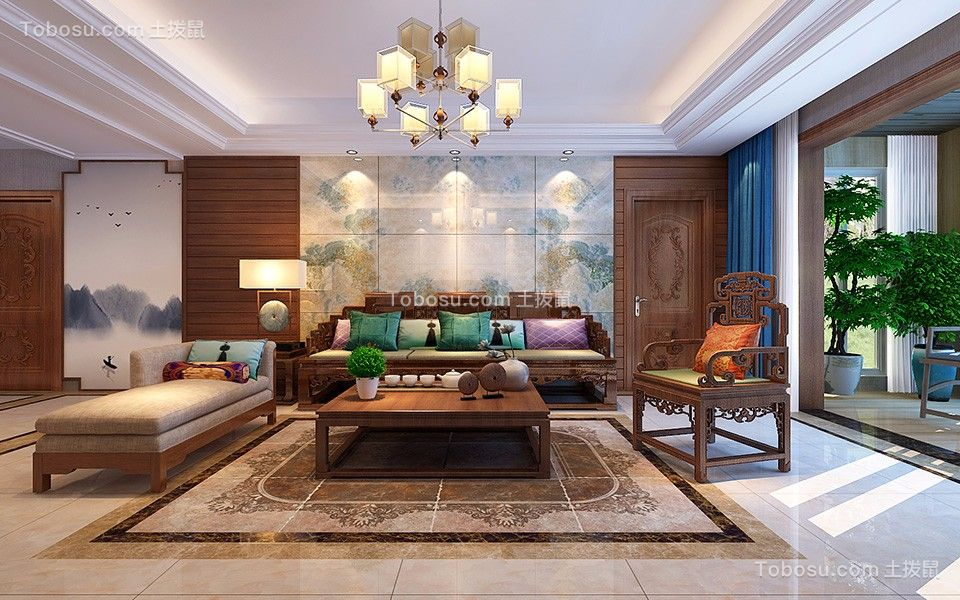 新中式风格140平米四居室装修效果图