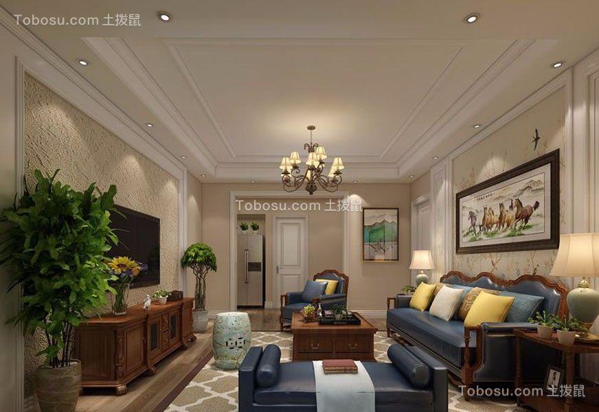 中航城美式风格三居室130平米装修效果图