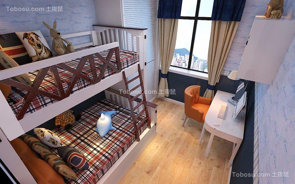 儿童房咖啡色床简欧风格装饰图片