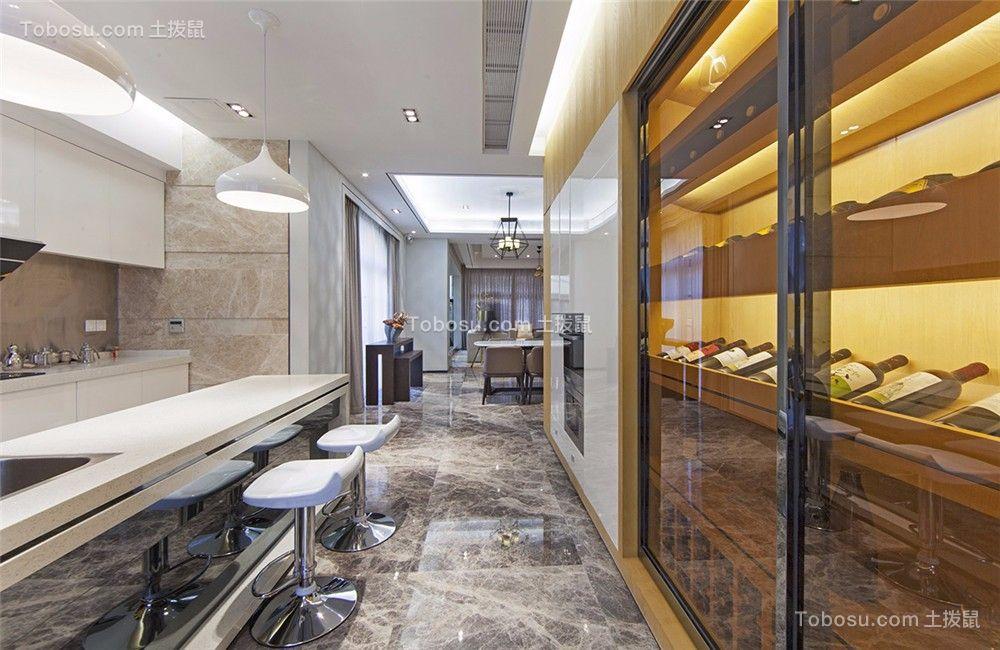 世贸香槟湖115平现代风格三居室装修效果图