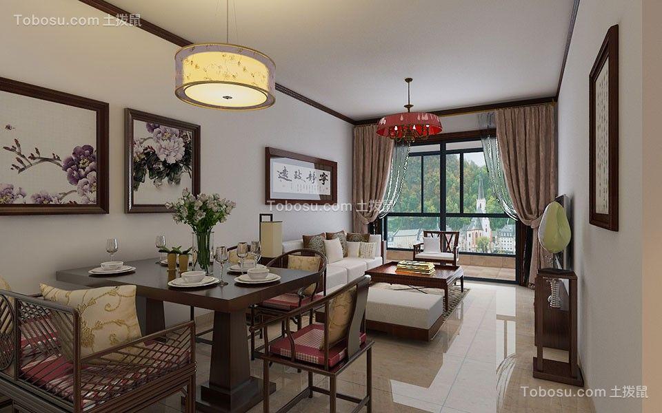 德润朗悦湾85㎡三居室新中式装修效果图