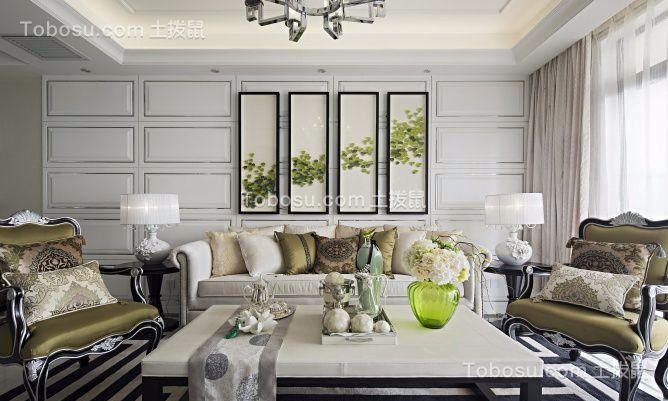 绿地香颂123平现代风格三居室装修效果图