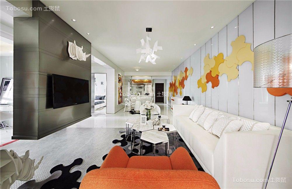 玉兰广场113平现代风格二居室装修效果图