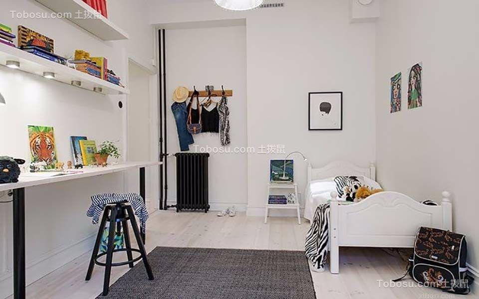 卧室白色书架北欧风格装潢效果图