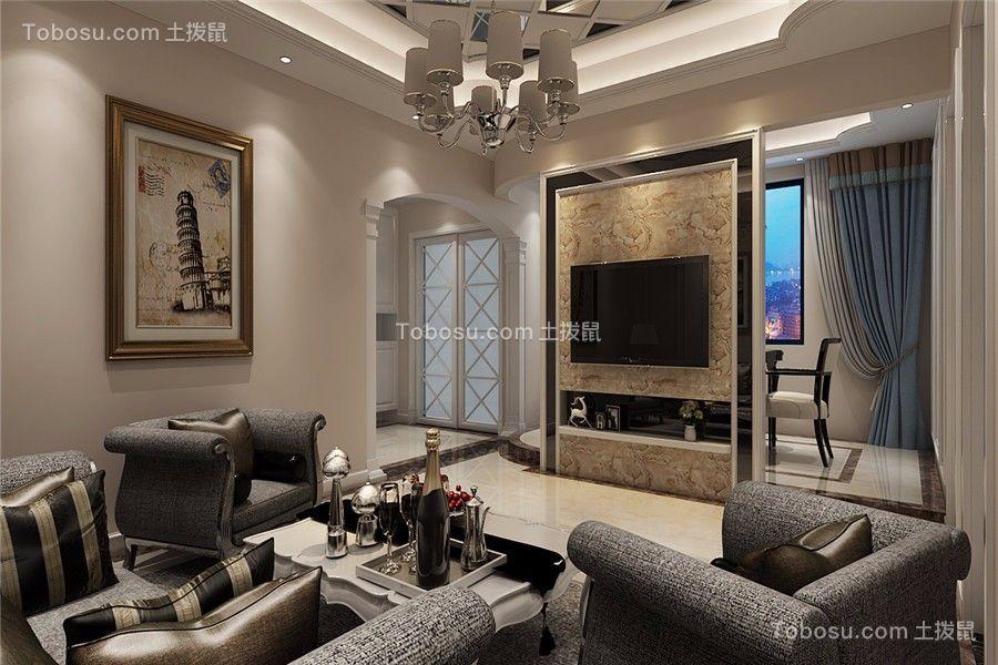 绿城玫瑰园110平米新古典风格三居室装修效果图