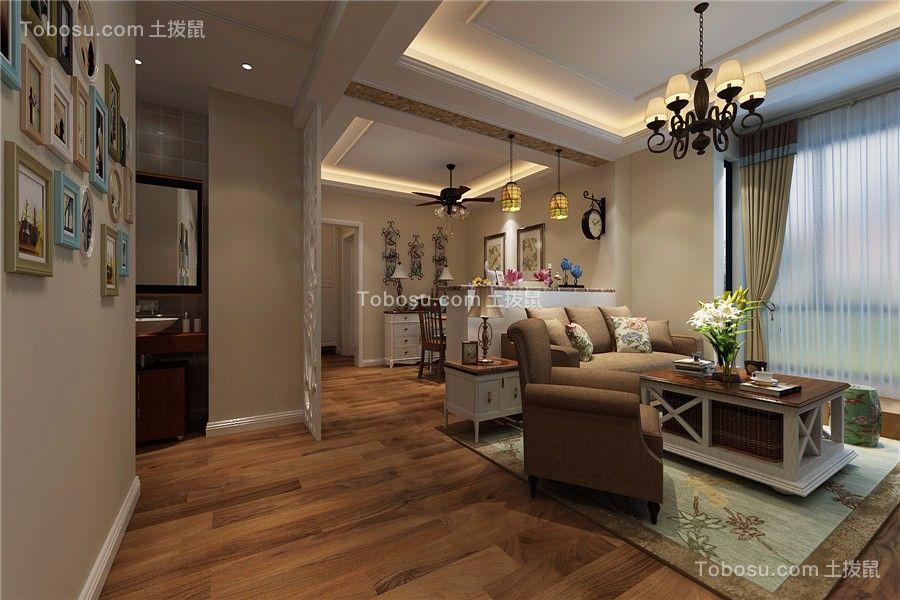万达华府美式风格三居室100平米装修效果图