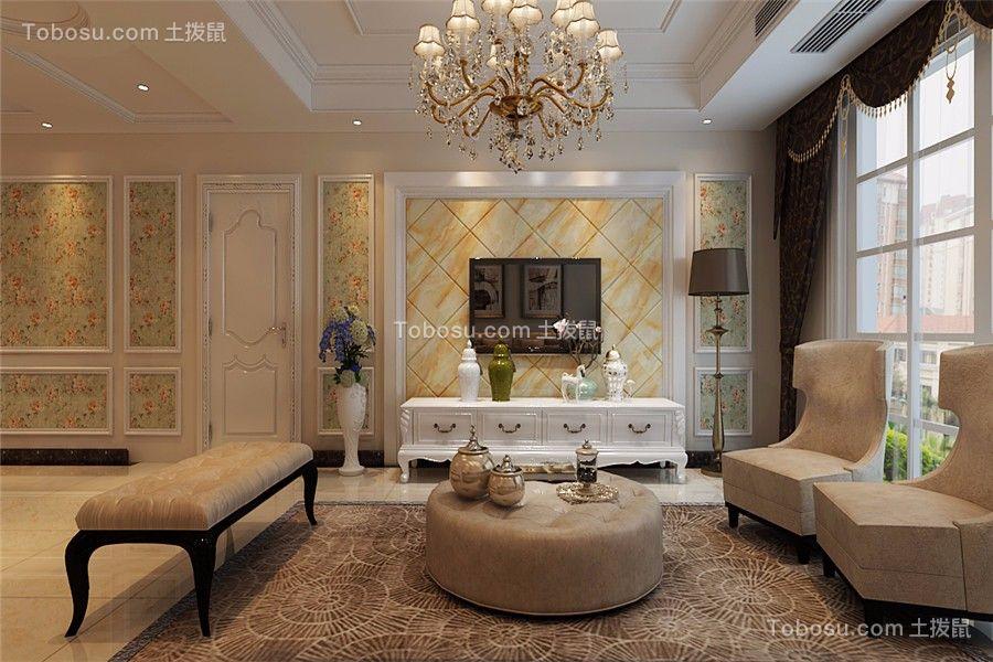 海亮江湾城110平简欧风格三居室装修效果图