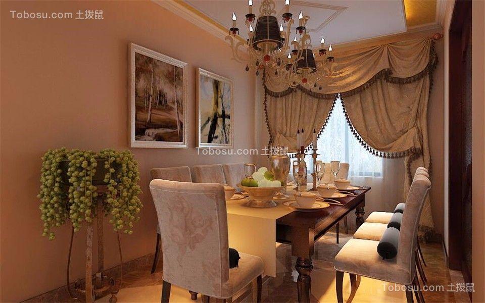 餐厅黄色窗帘欧式风格装饰效果图