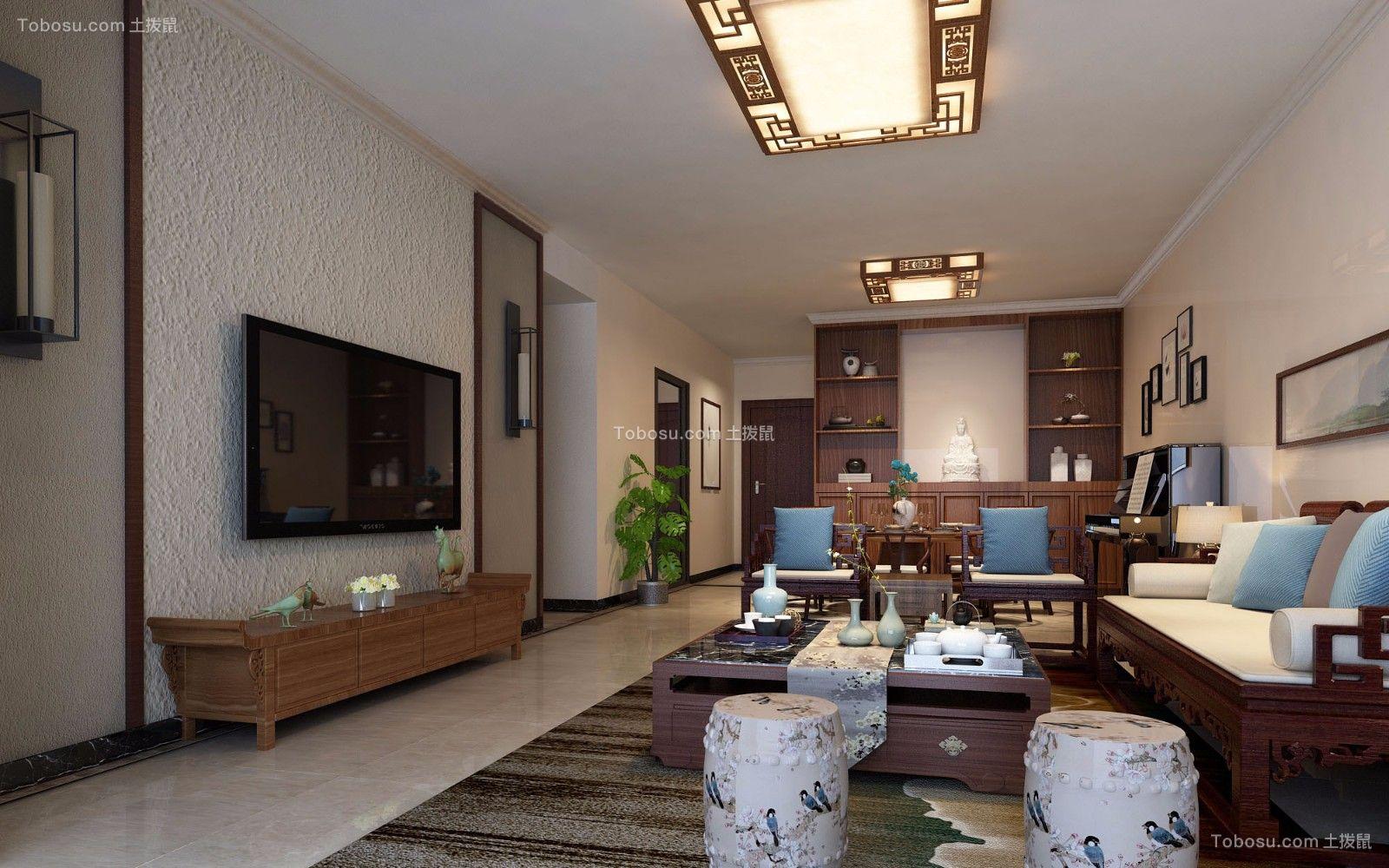 可逸江畔140平米新中式风格四居室装修效果图